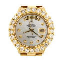ROLEX: 18kt yellow gold Rolex Oyster Perpetual Day-Date wristwatch; Mother of Pearl dial with diamon