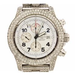 WATCH: Gents Breitling Super Avenger st.steel watch; white face, date @ 3:00,  3 sub-dials; 661 RB d