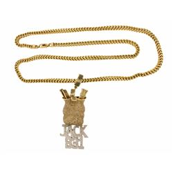 CHAIN: Gents 10ky box curb link chain, lobster clasp, 40 inches long, 6.11mm wide, 98.4 grams. PENDA
