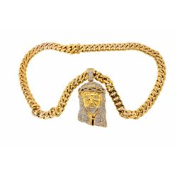 NECKLACE: 10kt yellow gold Cuban link necklace, 31 inches long, 16 mm wide, double clasp PENDANT: 10