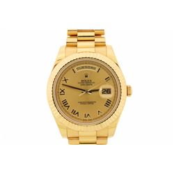 ROLEX:  [1] 18KYG gents Rolex Oyster Perpetual President Day Date II watch, 41mms, champagne Roman d