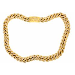 NECKLACE:  [1] 18KYG Cuban link chain necklace with a box clasp and the initials CVL; the chain and