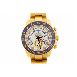 WATCH:  [1] 18KYG gents 44mm Rolex Yachtmaster II watch with a white dial and blue bezel; model #116