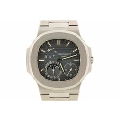 WATCH:  [1] Stainless steel gents Patek Philippe Nautilus watch with moon phases and power reserve i