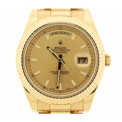 WATCH:  [1] 18 karat yellow gold gents Rolex Oyster Perpetual President Day Date II, 41mms, with a c