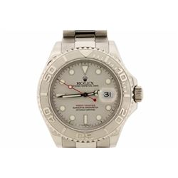 WATCH: [1] Stainless steel gents Rolex Oyster Perpetual Yacht-Master watch with a grey dial, platinu