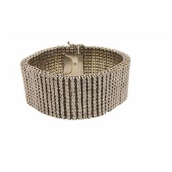 BRACELET:  [1] 14 karat white gold bracelet set with 792 round diamonds,  approx. 39.60 carats total