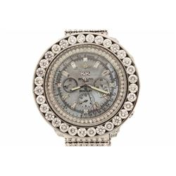 WATCH:  [1] Stainless steel Breitling watch with an aftermarket bluish-gray mother-of-pearl dial wit