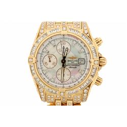 WATCH:  [1] 18KRG gents Breitling Evolution Automatic Chronograph watch with a mother-of-pearl dial