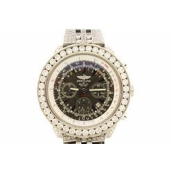 WATCH: Men's st.steel Breitling for Bentley watch w/ aftermarket diamond appointments; approx. (506)