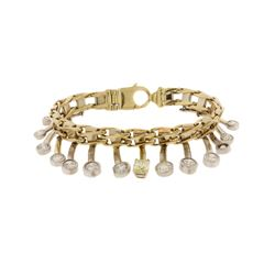 BRACELET:  [1] 14KY WG bracelet with 14 charms set with graduating rd diamonds, from 0.12 cts. to 1.
