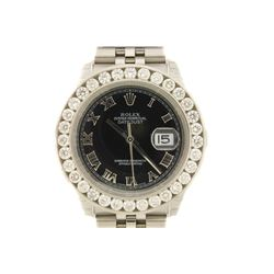 WATCH:  [1] Stainless steel gents Rolex Oyster Perpetual Datejust watch with a black dial and Roman