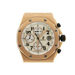 WATCH: Men's 18kr Audemars Piguet Royal Oak Offshore Watch; Cream face, automatic, 3 sub diamonds, d