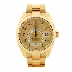 ROLEX: Men's 18ky Rolex Sky-Dweller watch; 40 jewel annual calendar, two time zone, 1 sub dial; Mode