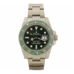 ROLEX: Men's Stainless Steel Submariner Oyster Perpetual Date Rolex; Green face/bezel; Model 116610;