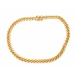 CHAIN: Men's 14ky curb link chain necklace; 17.86mm wide x 8.21mm thick x 27.5'' long; 789.60 grams.