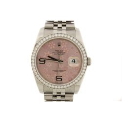 WATCH: Large st.steel Rolex O.P. Datejust wristwatch with  factory 18kw diamond bezel; Pink flowers
