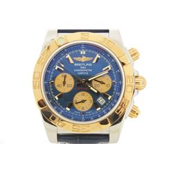 WATCH: Men's st.steel & 18kr Breitling WindRider ChronoMat BO1 wristwatch; dk blue dial with rose st