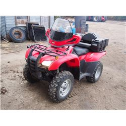 2012 Honda FOURTRAX, 420cc Engine, 1,500 KM, Windshield, 2 Up Seat, Electric Shift, 4WD