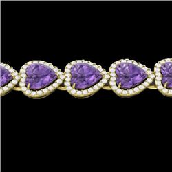 23 CTW Amethyst & Micro Pave Bracelet Heart Halo 14K Yellow Gold - REF-378N5Y - 22611