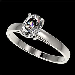 1 CTW Certified VS/SI Quality Oval Diamond Solitaire Ring 10K White Gold - REF-270N3Y - 32991