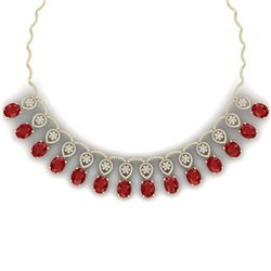 56.05 CTW Royalty Ruby & VS Diamond Necklace 18K Yellow Gold - REF-1145M5F - 39065