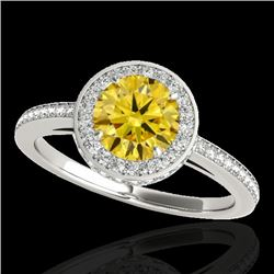 1.55 CTW Certified Si Fancy Intense Yellow Diamond Solitaire Halo Ring 10K White Gold - REF-180W2H -