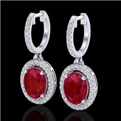 4.25 CTW Ruby & Micro Pave VS/SI Diamond Earrings Solitaire Halo 18K White Gold - REF-103F6M - 20331