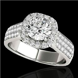 1.8 CTW H-SI/I Certified Diamond Solitaire Halo Ring 10K White Gold - REF-258X2T - 34060