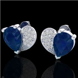 2.50 CTW Sapphire & Micro Pave VS/SI Diamond Certified Earrings 10K White Gold - REF-31X8T - 20079