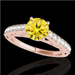 1.4 CTW Certified Si Fancy Intense Yellow Diamond Solitaire Ring 10K Rose Gold - REF-161R8K - 35022