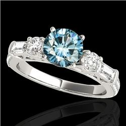 2.5 CTW SI Certified Fancy Blue Diamond Pave Solitaire Ring 10K White Gold - REF-327M3F - 35485