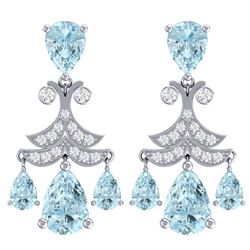 11.35 CTW Royalty Sky Topaz & VS Diamond Earrings 18K White Gold - REF-130H2W - 38724