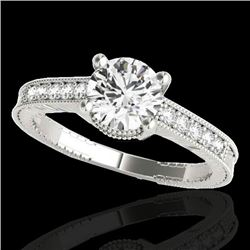 1.2 CTW H-SI/I Certified Diamond Solitaire Antique Ring 10K White Gold - REF-155M5F - 34747