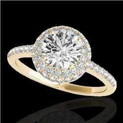 1.6 CTW H-SI/I Certified Diamond Solitaire Halo Ring 10K Yellow Gold - REF-169W3H - 33672
