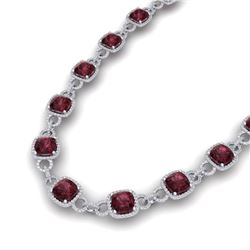 66 CTW Garnet & VS/SI Diamond Certified Necklace 14K White Gold - REF-794W5H - 23043