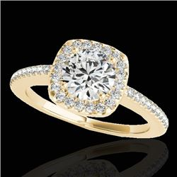 1.25 CTW H-SI/I Certified Diamond Solitaire Halo Ring 10K Yellow Gold - REF-161F8M - 33825
