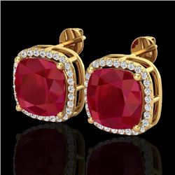 12 CTW Ruby & Micro Pave Halo VS/SI Diamond Earrings Solitaire 18K Yellow Gold - REF-158T2X - 23067