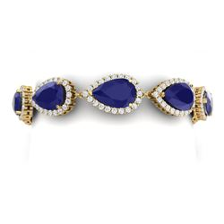 42 CTW Royalty Sapphire & VS Diamond Bracelet 18K Yellow Gold - REF-527M3F - 38864