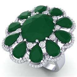 20.63 CTW Royalty Designer Emerald & VS Diamond Ring 18K White Gold - REF-327K3R - 39138