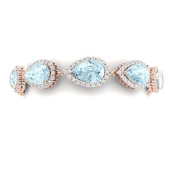 41.87 CTW Royalty Sky Topaz & VS Diamond Bracelet 18K Rose Gold - REF-418T2X - 38866