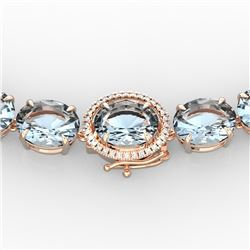 136 CTW Aquamarine & VS/SI Diamond Necklace 14K Rose Gold - REF-1363F6M - 22288