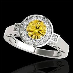 1.5 CTW Certified Si Fancy Intense Yellow Diamond Solitaire Halo Ring 10K White Gold - REF-180Y2N -