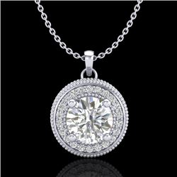 1.25 CTW VS/SI Diamond Solitaire Art Deco Stud Necklace 18K White Gold - REF-218R2K - 37142