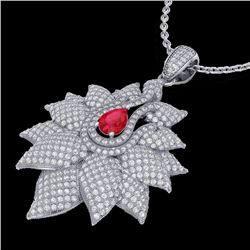 3 CTW Ruby & Micro Pave VS/SI Diamond Designer Necklace 18K White Gold - REF-257H3W - 22563