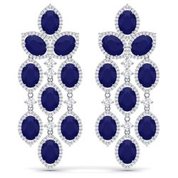 35.15 CTW Royalty Sapphire & VS Diamond Earrings 18K White Gold - REF-536N4Y - 38928