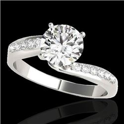 1.15 CTW H-SI/I Certified Diamond Bypass Solitaire Ring 10K White Gold - REF-154T5X - 35063