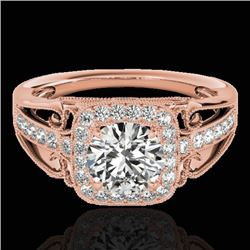 1.3 CTW H-SI/I Certified Diamond Solitaire Halo Ring 10K Rose Gold - REF-165X6T - 33770