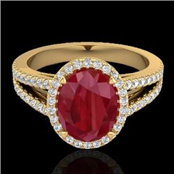 3 CTW Ruby & Micro Pave VS/SI Diamond Halo Solitaire Ring 18K Yellow Gold - REF-78W2H - 20948