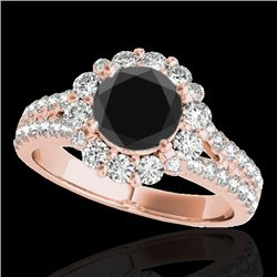 2.01 CTW Certified Vs Black Diamond Solitaire Halo Ring 10K Rose Gold - REF-102Y2N - 33935